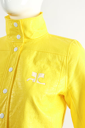 Vintage Courreges Yellow Patent Crinkle Jacket On Mannequin Logo Detail at Recess Los Angeles