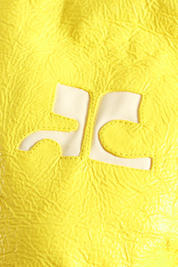 Vintage Courreges Yellow Patent Crinkle Jacket Logo Detail at Recess Los Angeles