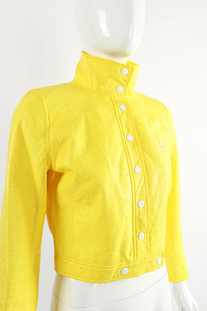 Vintage Courreges Yellow Patent Crinkle Jacket On Mannequin Side Buttoned at Recess Los Angeles