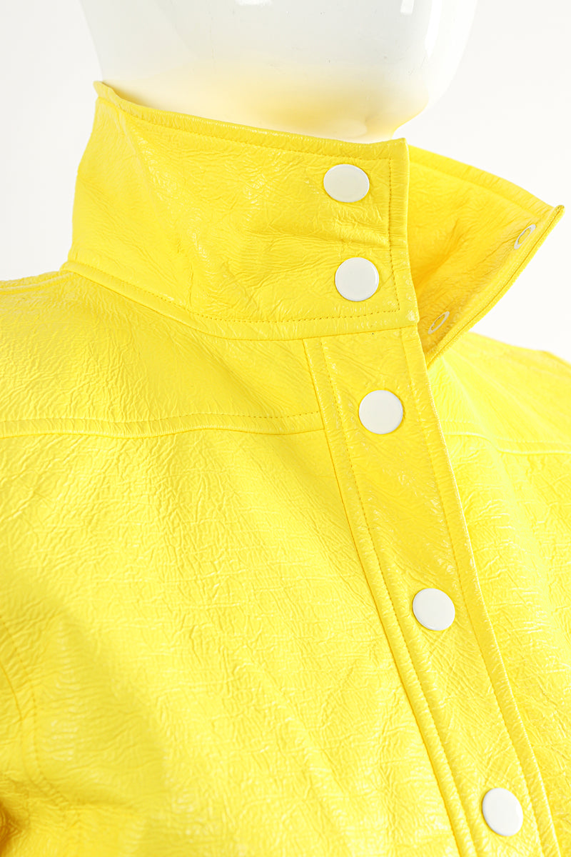Vintage Courreges Yellow Patent Crinkle Jacket On Mannequin Neckline at Recess Los Angeles