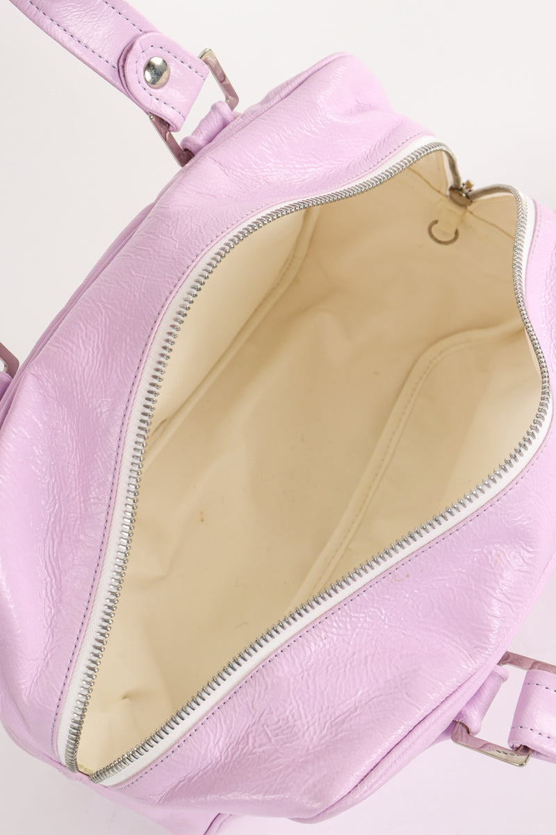 Vintage Courreges Patent Crinkle Bowler Bag Interior at Recess Los Angeles