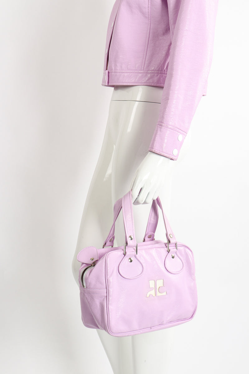 Vintage Courreges Patent Crinkle Bowler Bag on Mannequin matching jacket at Recess Los Angeles
