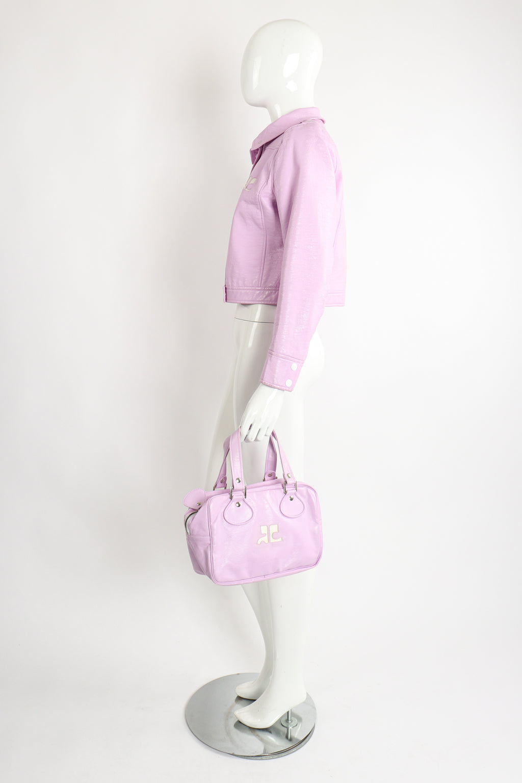 Vintage Courreges Lilac Patent Crinkle Jacket on Mannequin Matching Bag at Recess