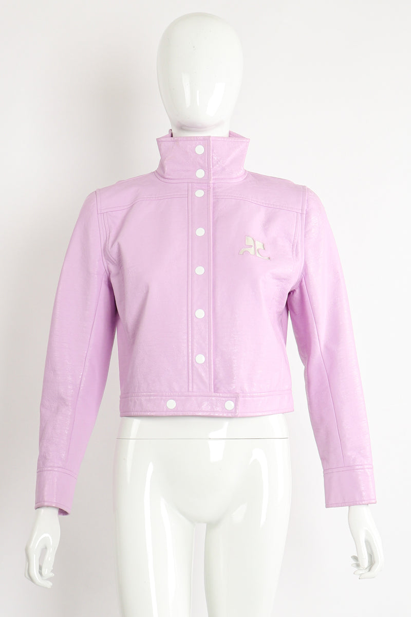Vintage Courreges Lilac Patent Crinkle Jacket on Mannequin Front at Recess Los Angeles