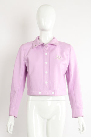 Vintage Courreges Lilac Patent Crinkle Jacket on Mannequin Front Collar fold at Recess Los Angeles