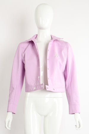 Vintage Courreges Lilac Patent Crinkle Jacket on Mannequin Front Open at Recess Los Angeles