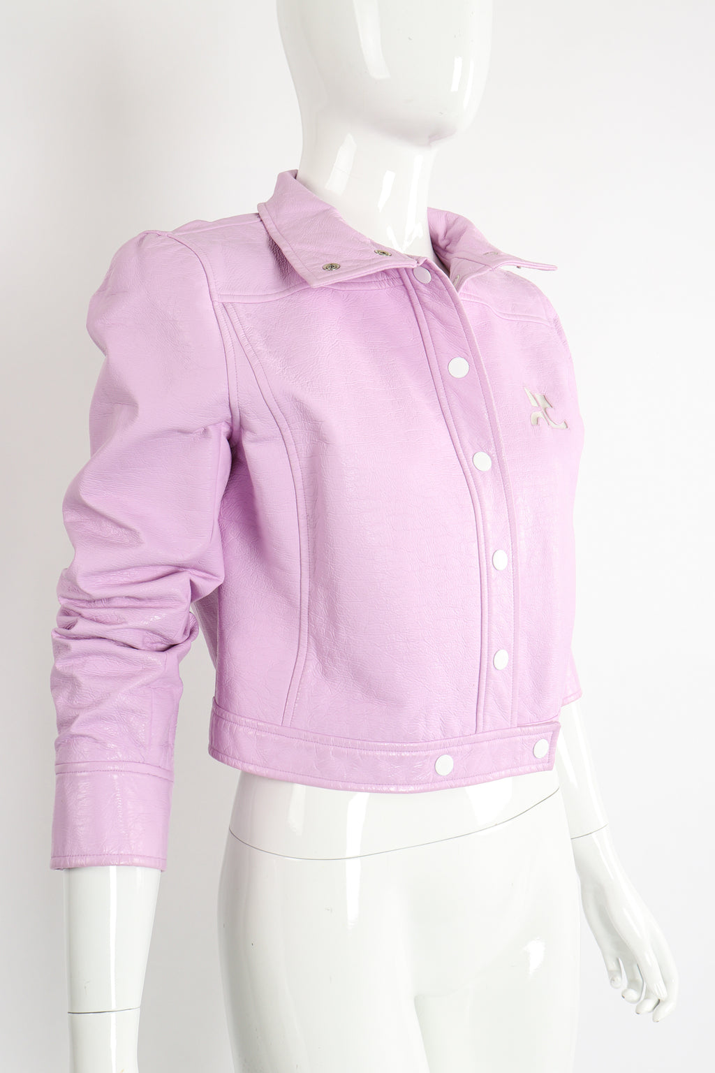 Vintage Courreges Lilac Patent Crinkle Jacket on Mannequin Angle Crop at Recess Los Angeles