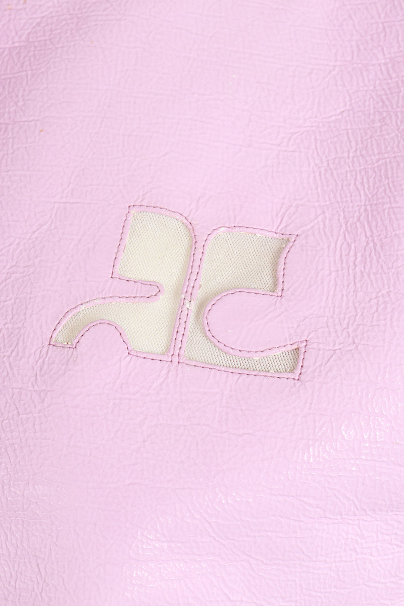 Vintage Courreges Lilac Patent Crinkle Jacket Logo Chest at Recess Los Angeles