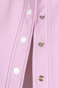 Vintage Courreges Lilac Patent Crinkle Jacket Snap Detail at Recess Los Angeles