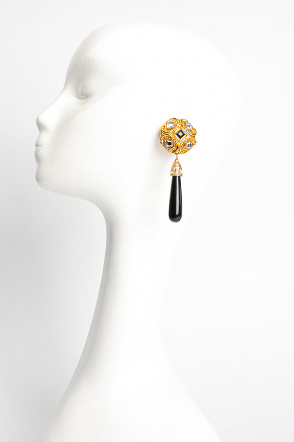 Vintage Craft Baroque Mirrored Teardrop Earrings on Mannequin at Recess Los Angeles