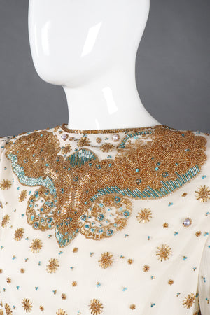 Recess Los Angeles Vintage Creative Creations Beaded Silk Elephant Collar Drop Waist Gown