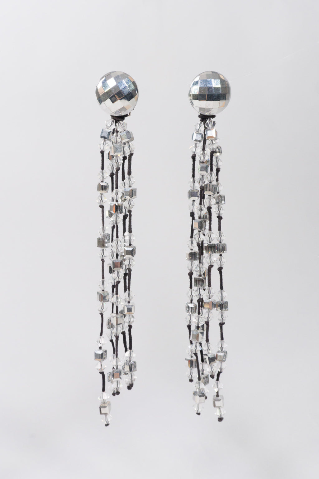 Vintage Crystal Disco Ball Tassel Waterfall Earrings