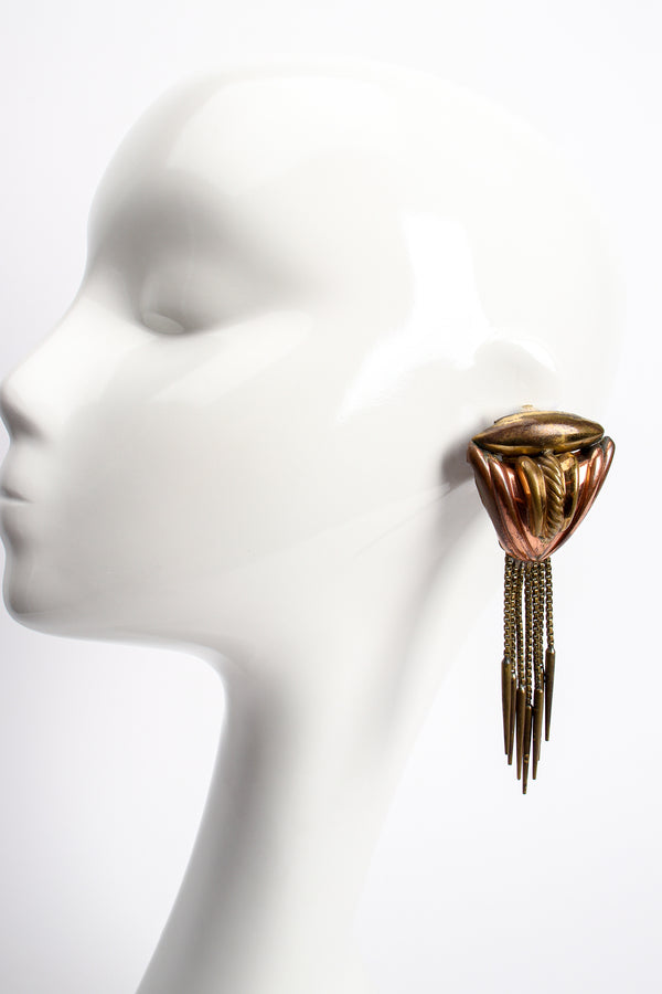 Vintage Diva Brass Dagger Fringe Earrings on mannequin at Recess Los Angeles
