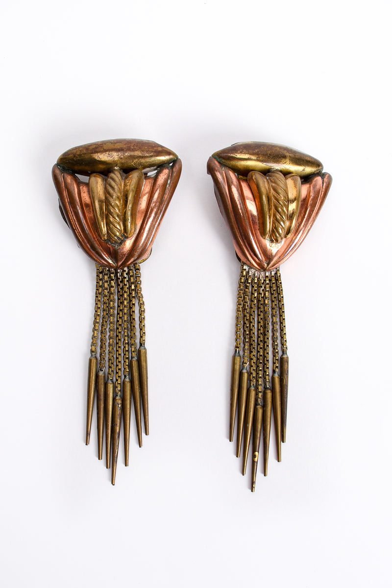 Vintage Diva Brass Dagger Fringe Earrings at Recess Los Angeles