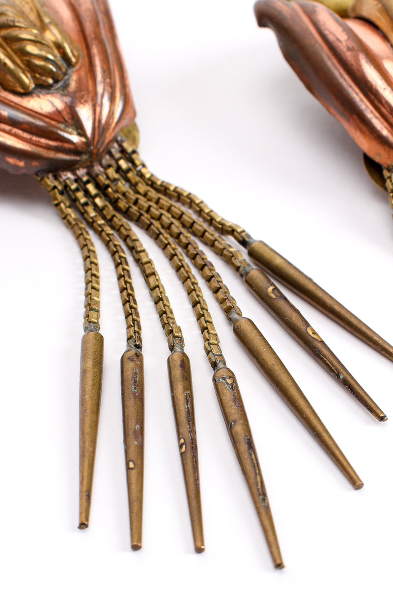 Vintage Diva Brass Dagger Fringe Earrings detail at Recess Los Angeles