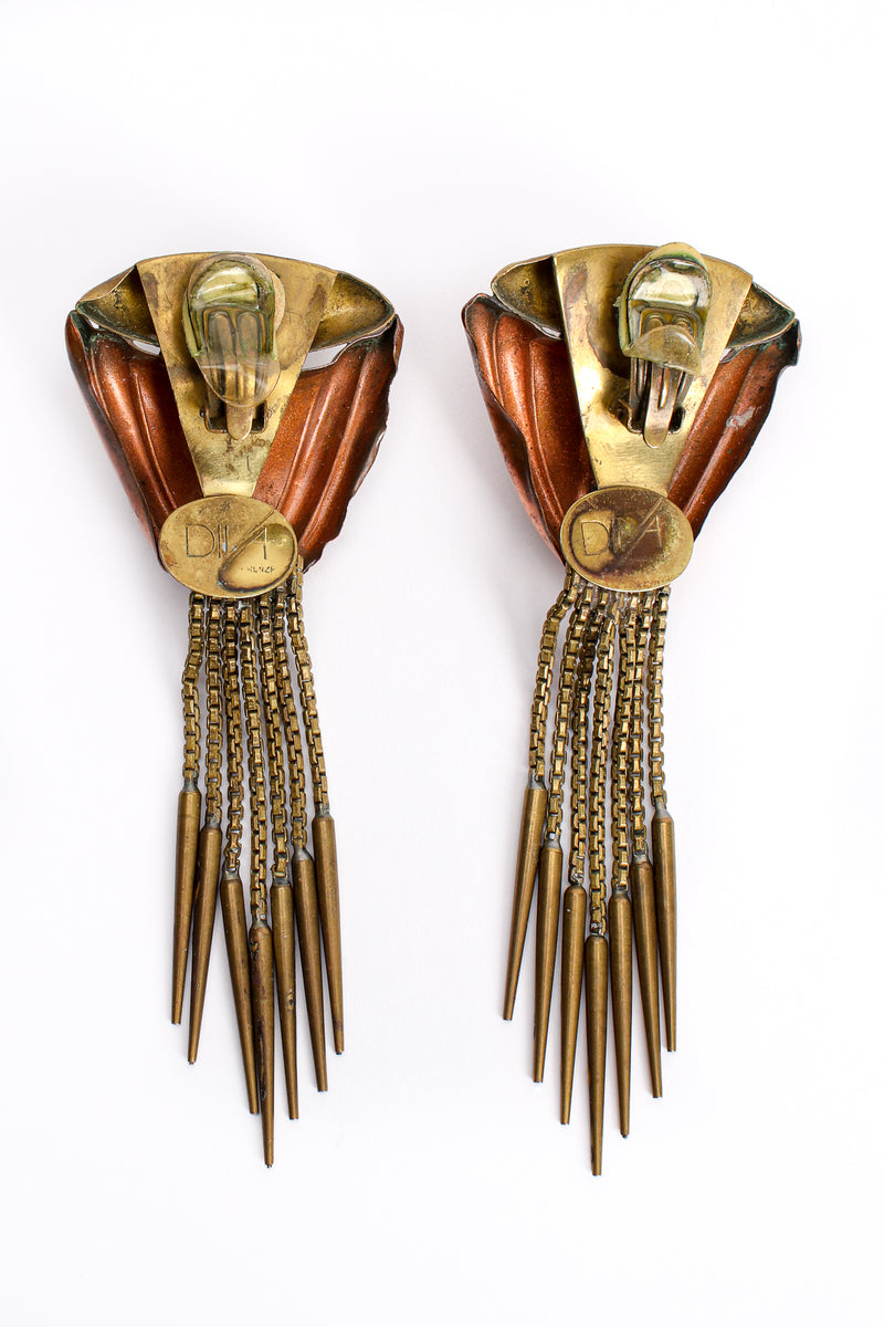 Vintage Diva Brass Dagger Fringe Earrings backside at Recess Los Angeles