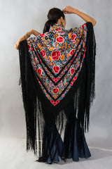 Embroidered Blooms Piano Shawl