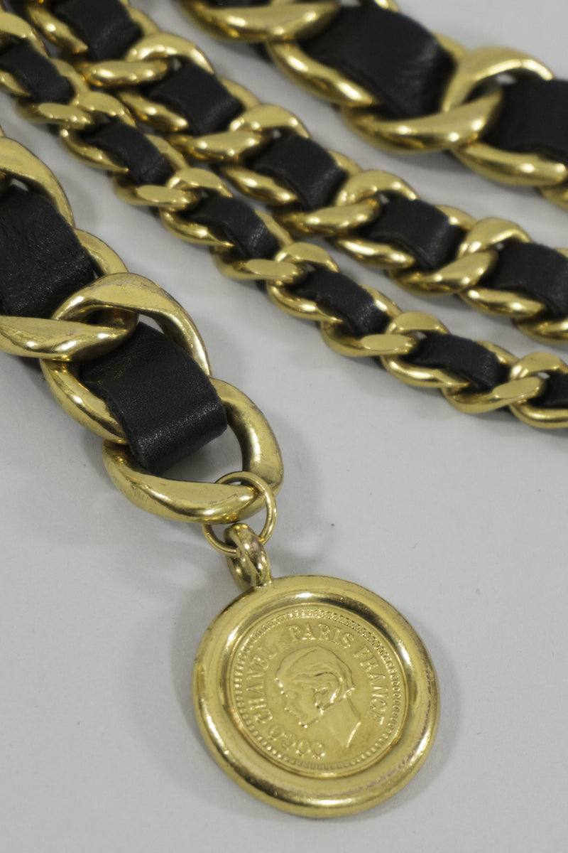 Chanel Triple Chain Belt with Coco Cameo Coin