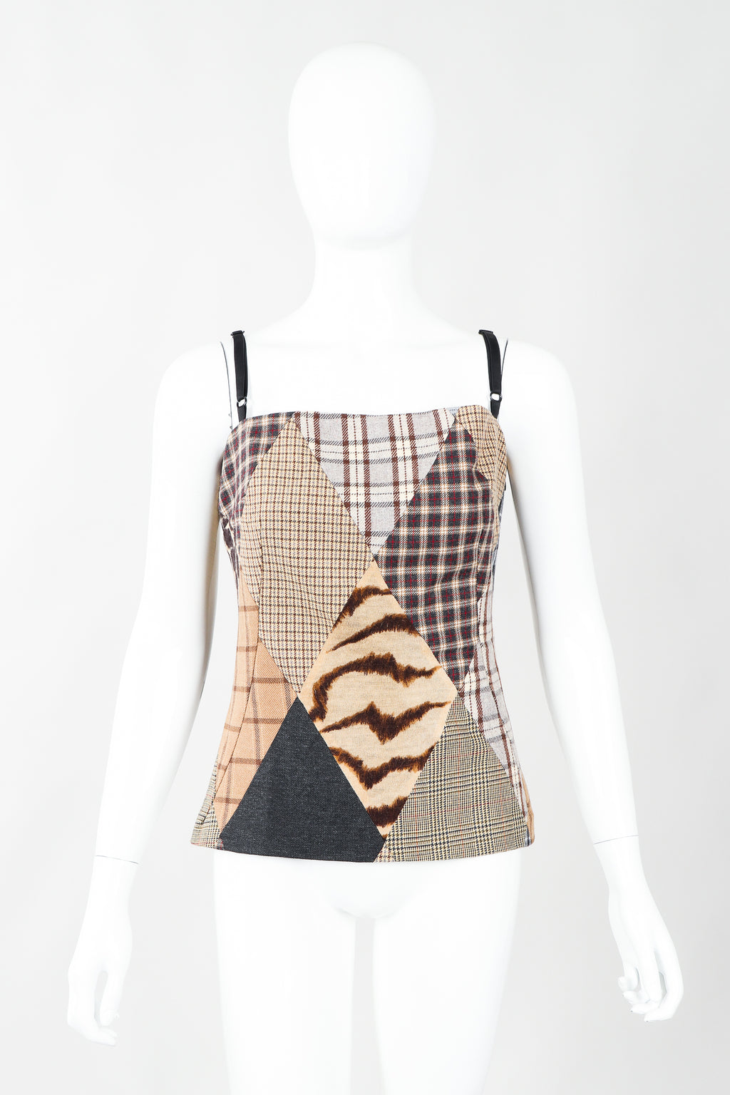 Vintage Dolce & Gabbbana D&G D&G Neutral Plaid Patchwork Bustier Top on Mannequin, Front at Recess