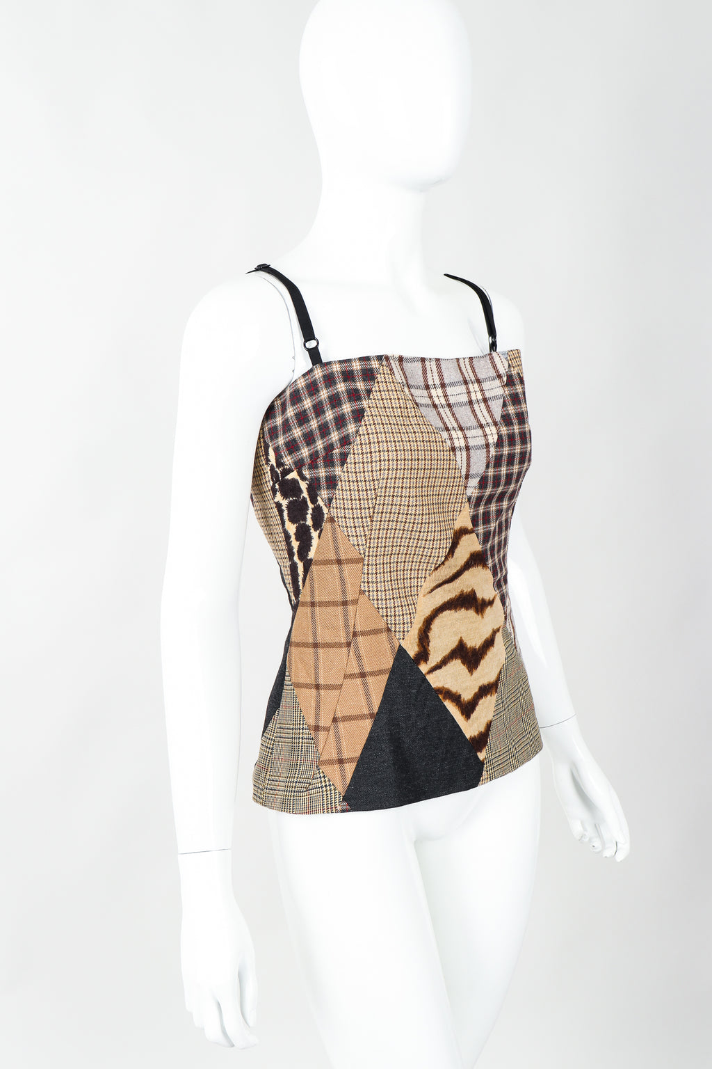 Vintage Dolce & Gabbbana D&G Neutral Plaid Patchwork Bustier Top on Mannequin, cropped at Recess