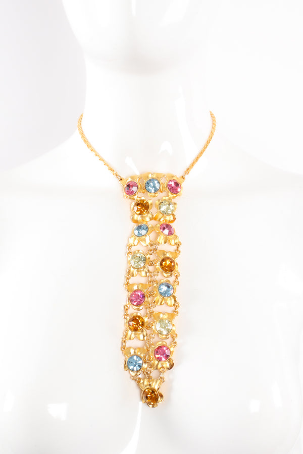 Crystal Jeweled Necktie Necklace