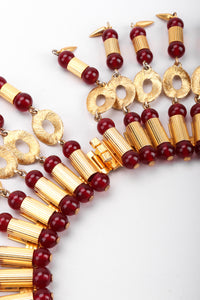 Recess Los Angeles Vintage William De Lillo Egyptian Red Gold Double Row Ribbed Tubes Oval Link Glass Beads Dangling Daggers