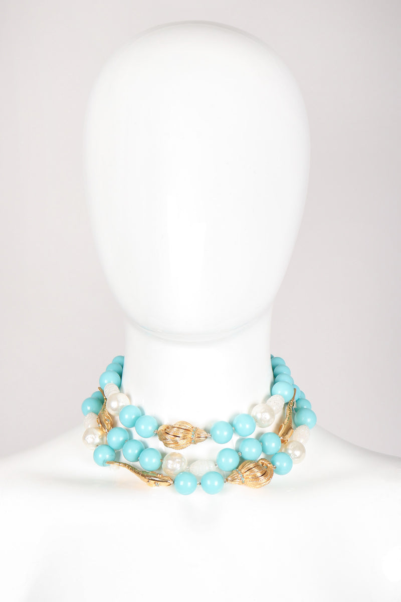 Recess Los Angeles Vintage De Mario Under The Sea Tiered Beaded Collar Choker Necklace