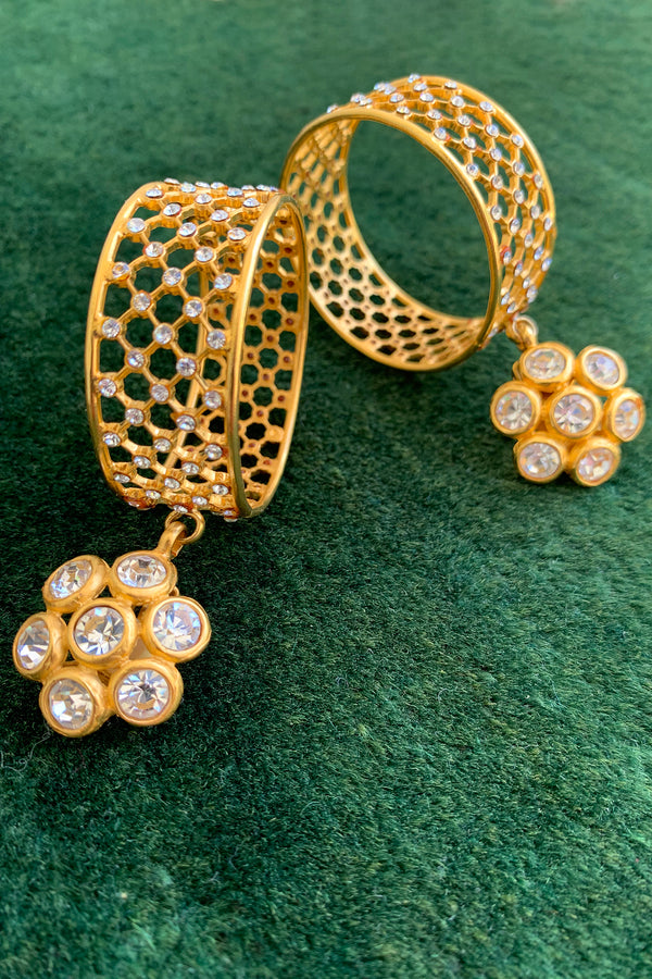 Vintage Deanna Hamro Crystal Cage Hoop Earrings at Recess Los Angeles