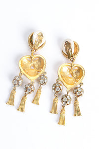 Vintage Deanna Hamro Heart Tassel Drop Earrings Backside at Recess Los Angeles