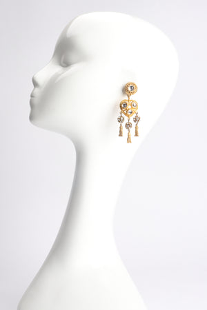 Vintage Deanna Hamro Heart Tassel Drop Earrings on Mannequin at Recess Los Angeles