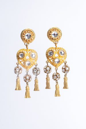 Vintage Deanna Hamro Heart Tassel Drop Earrings at Recess Los Angeles