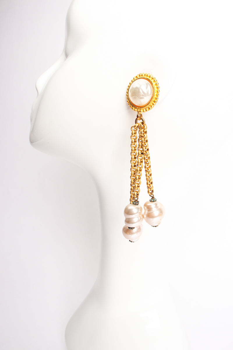 Vintage Deanna Hamro Pearl Chain Drop Earrings on Mannequin at Recess Los Angeles