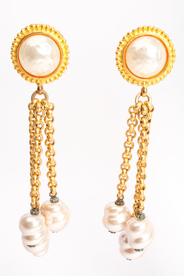 Vintage Deanna Hamro Pearl Chain Drop Earrings at Recess Los Angeles