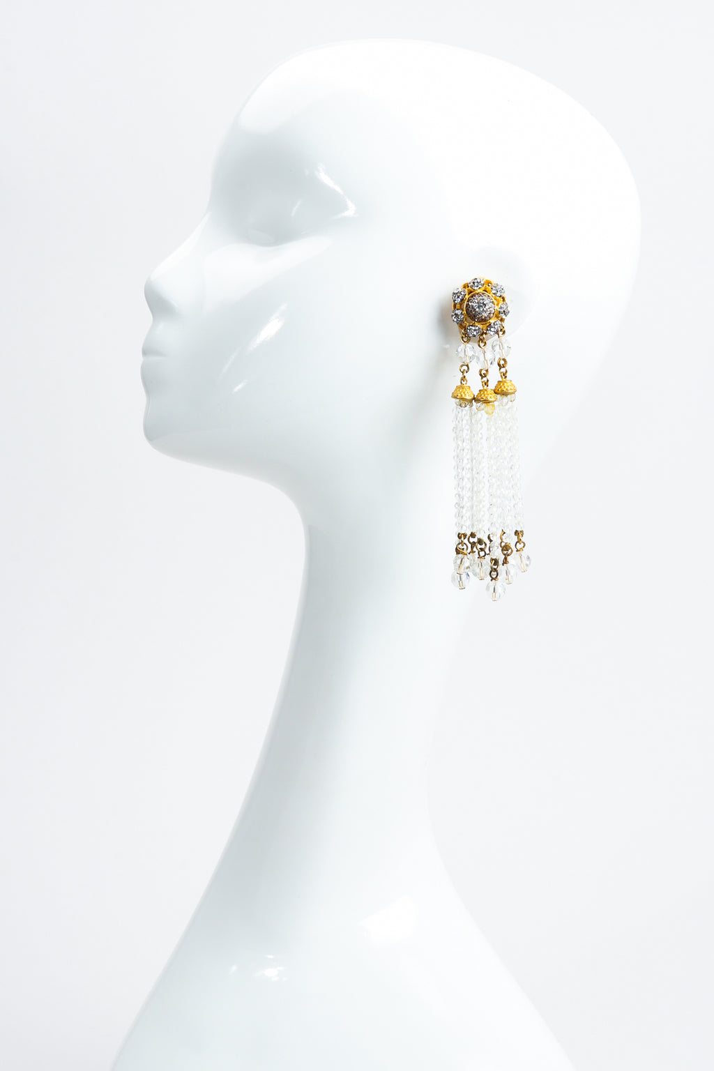 Vintage Deanna Hamro Crystal Chandelier Bead Fringe Drop Earrings on Mannequin at Recess