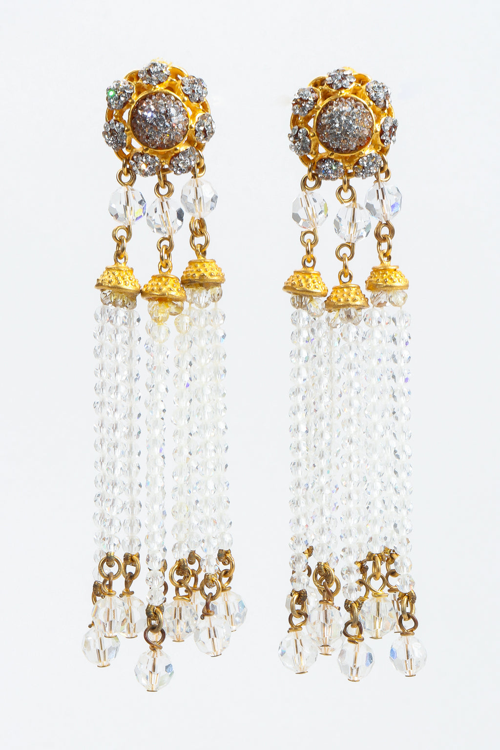 Vintage Deanna Hamro Crystal Chandelier Bead Fringe Drop Earrings at Recess