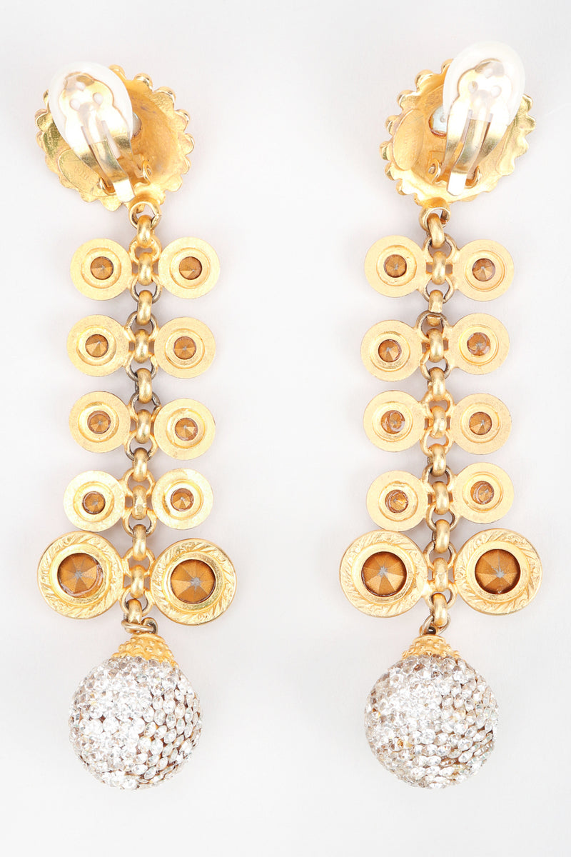 Recess Los Angeles Designer Consignment Vintage Deanna Hamro Crystal Sunflower Vine Duster Drop Earrings
