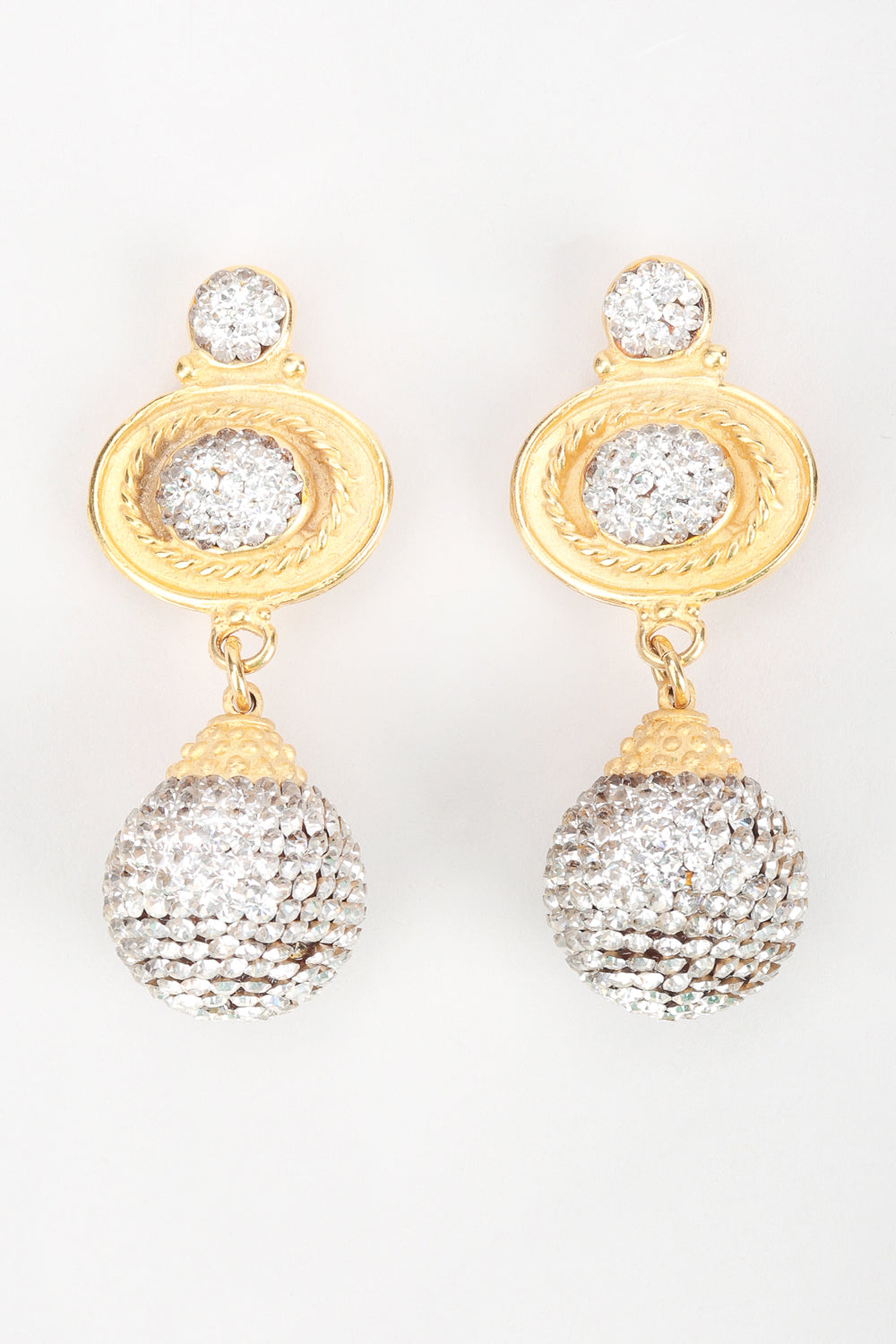 Recess Los Angeles Designer Consignment Resale Recycled Vintage Deanna Hamro Baroque Crystal Disco Ball Drop Earrings