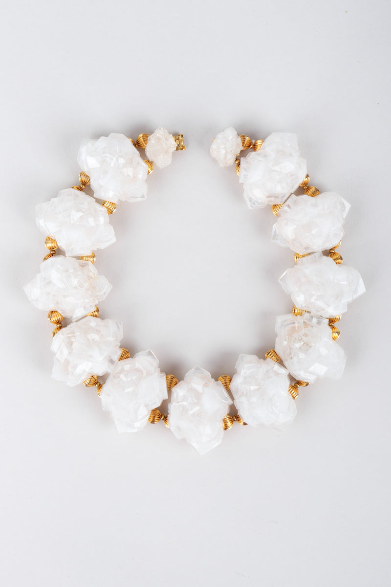 Recess Los Angeles Vintage William DeLillo Acrylic Pearly White Rock Crystal Gold Collar Necklace