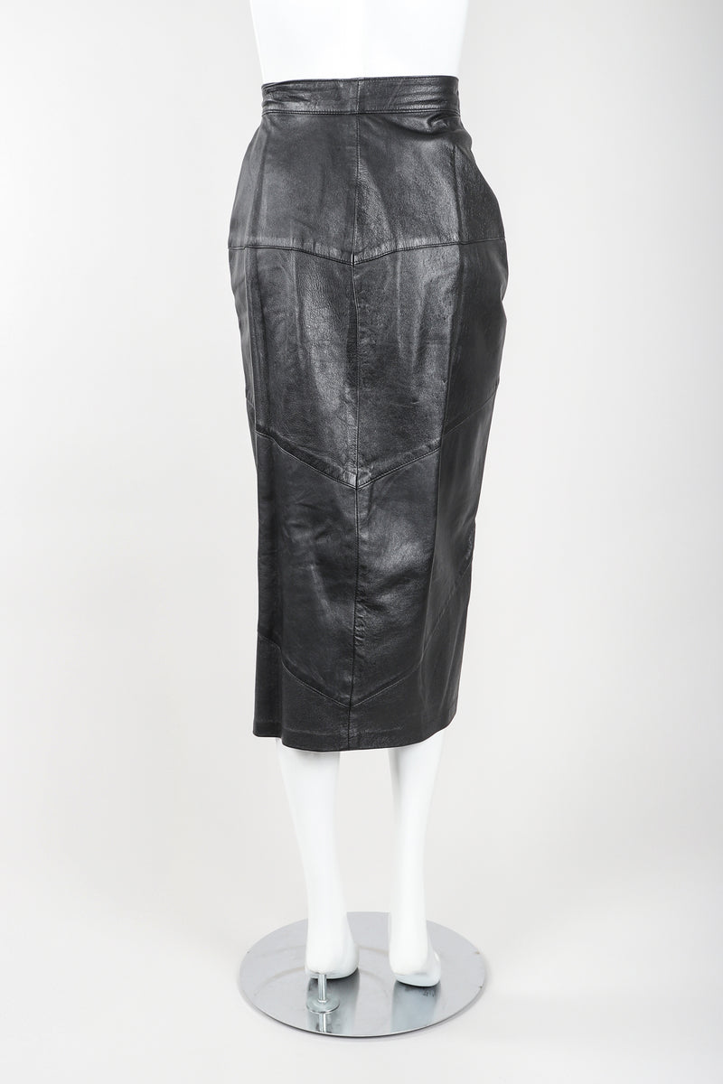 Dero Enterprises Black Leather Skirt On Mannequin, back, at Recess Vintage