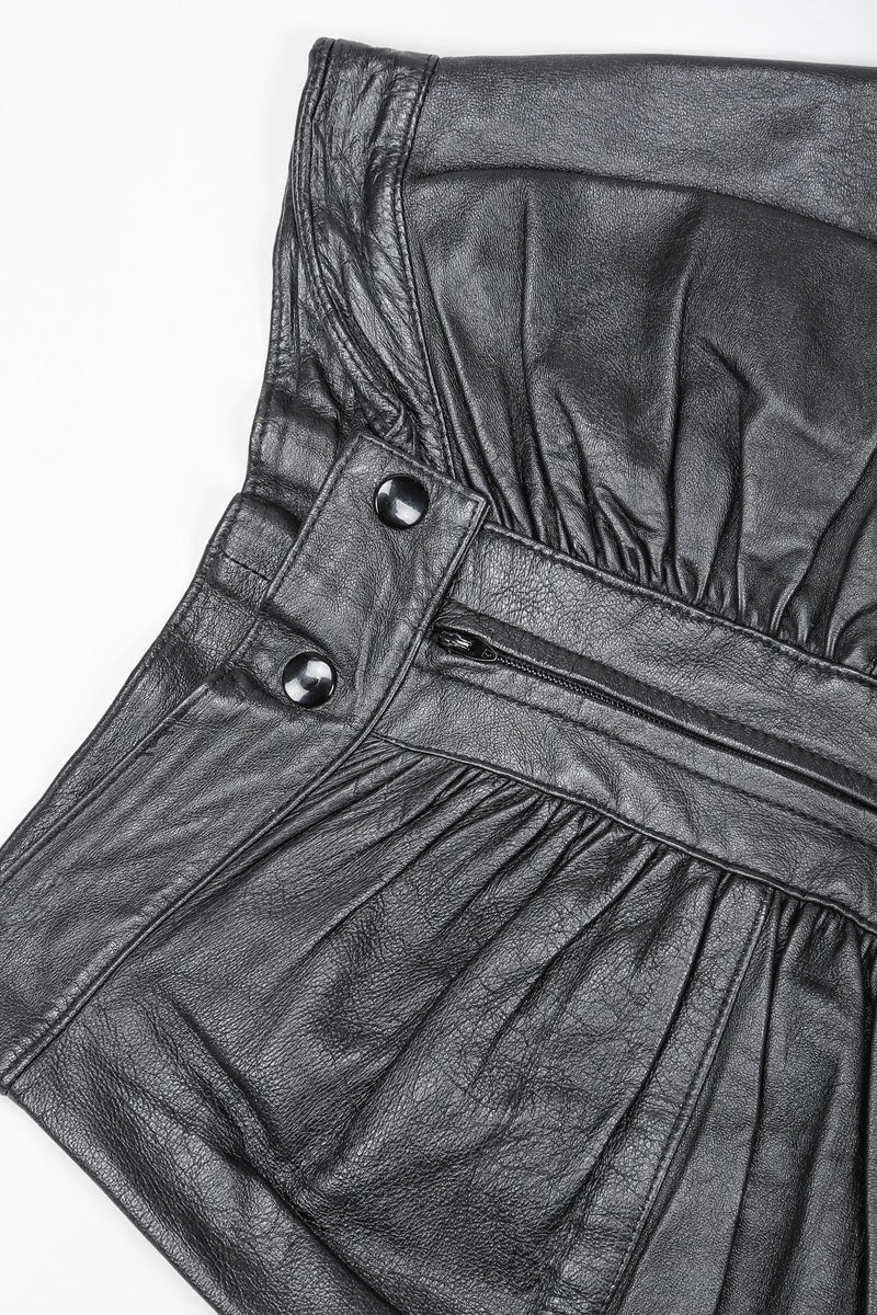 Dero Enterprises Black Leather Skirt, Waist Detail On White Background at Recess Vintage