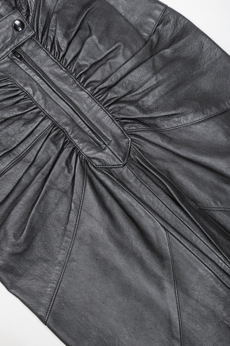 Dero Enterprises Black Leather Skirt, Front Detail On White Background at Recess Vintage