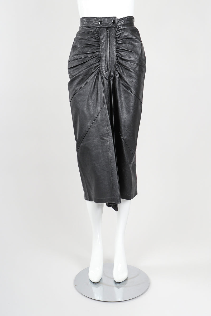 Dero Enterprises Black Leather Skirt On Mannequin, Front, at Recess Vintage