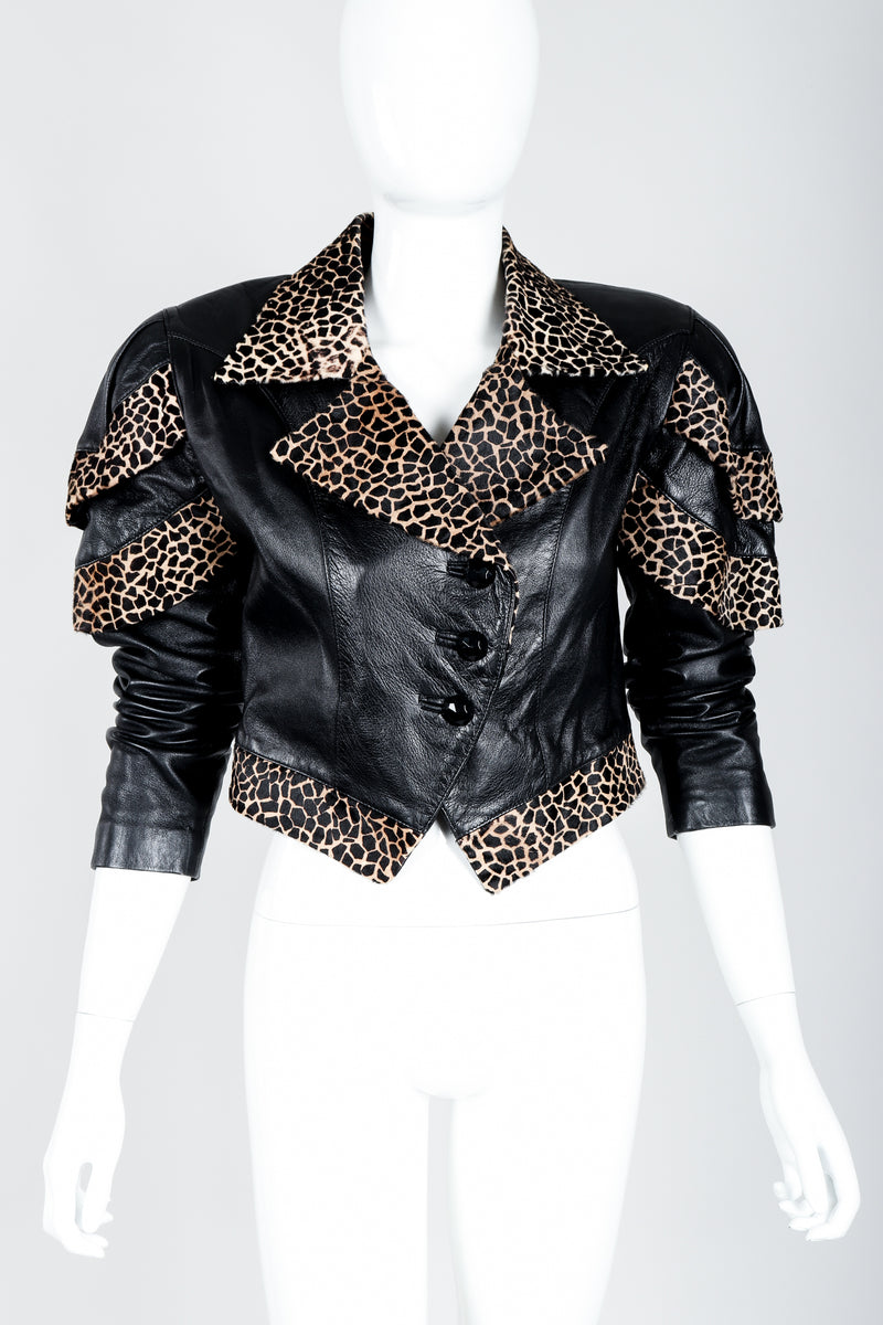 Vintage Dero Enterprises by Rocco D'Amelio Calf Hair Leather Jacket on Mannequin front at Recess