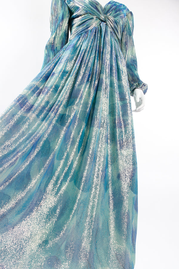Vintage Diane Dickinson Metallic Lamé Liquid Waist Wrap Dress on Mannequin skirt at Recess LA