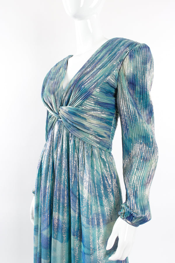 Vintage Diane Dickinson Metallic Lamé Liquid Waist Wrap Dress on Mannequin bust at Recess LA