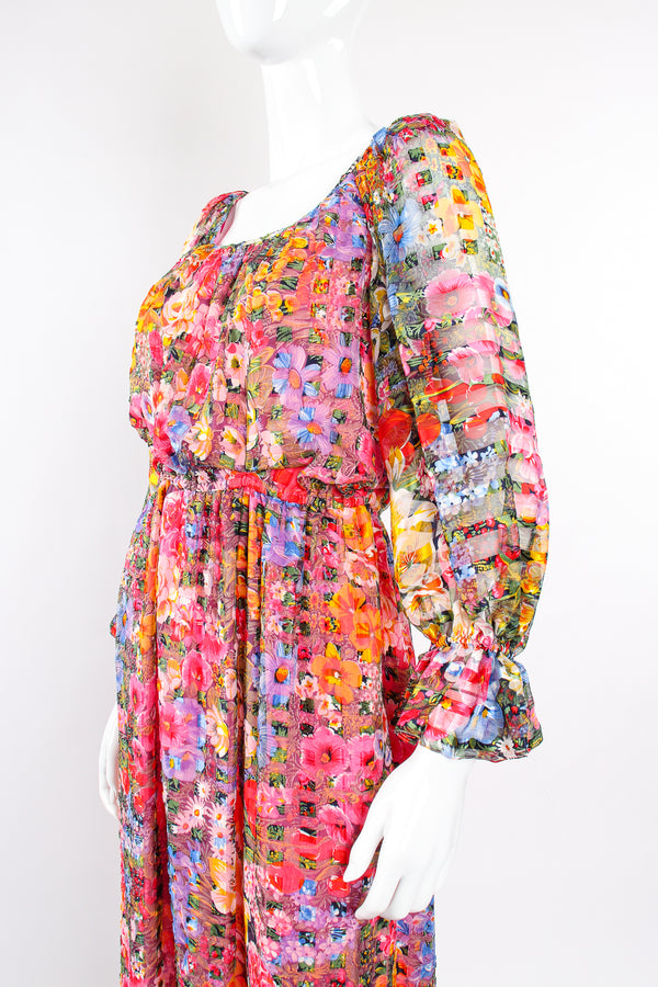 Vintage Diane Dickinson Gentillesse Floral Peasant Dress on Mannequin crop at Recess Los Angeles