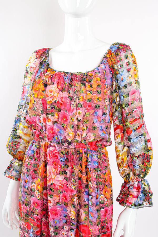 Vintage Diane Dickinson Gentillesse Floral Peasant Dress on Mannequin neck at Recess Los Angeles