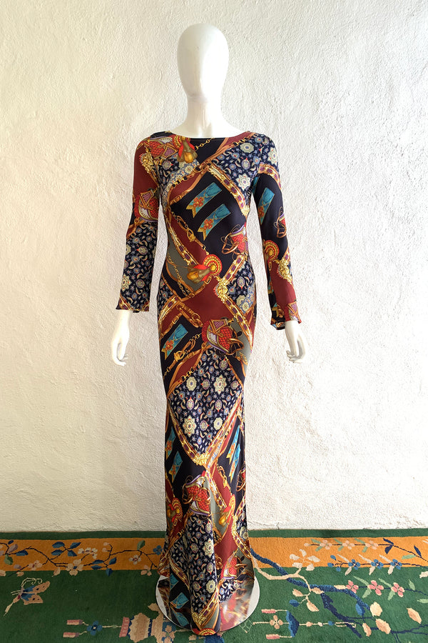 Vintage Diane Freis Buckle Horsebit Print Silk Bias Dress on Mannequin front at Recess LA