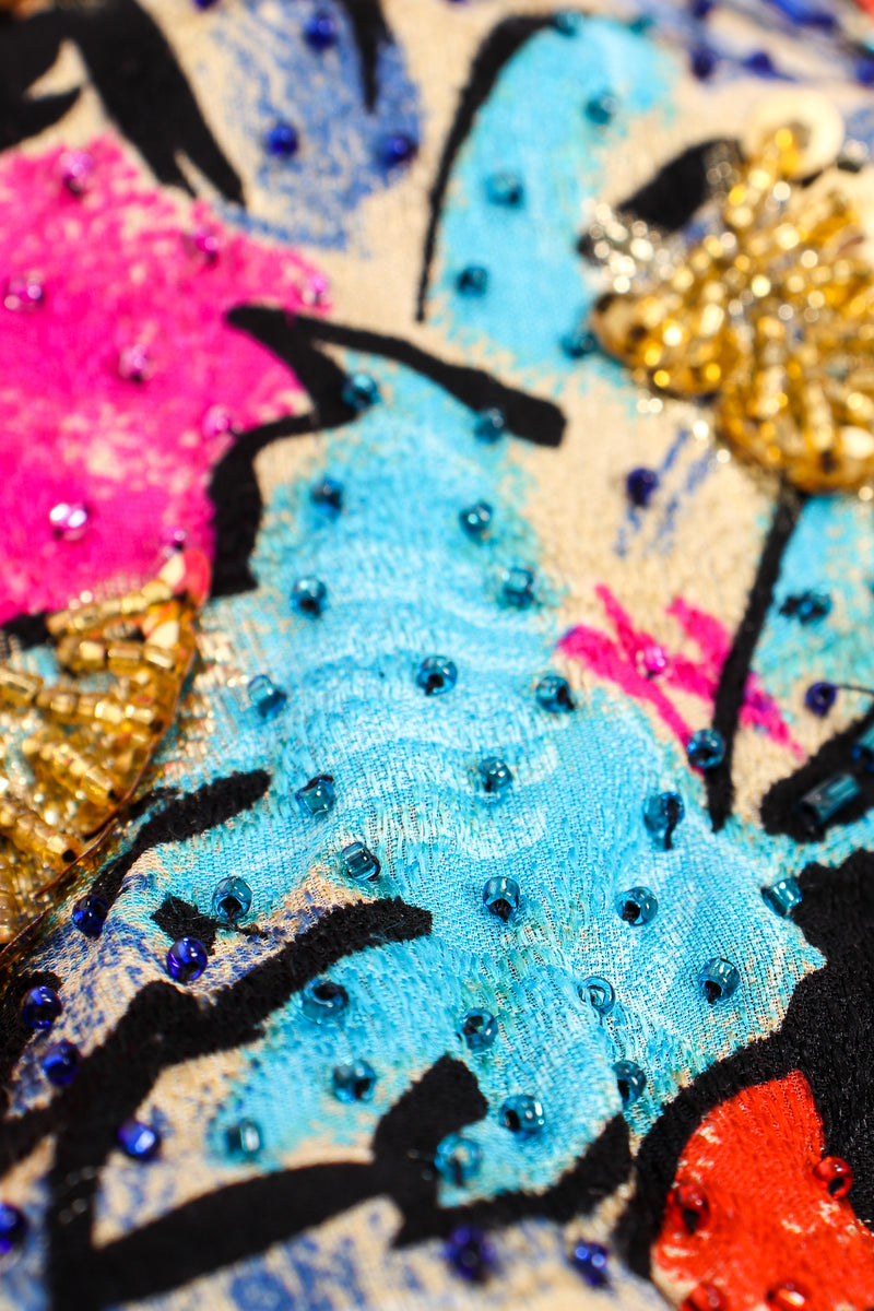 Vintage Diane Freis Tropical Beaded Silk Duster beading detail at Recess Los Angeles