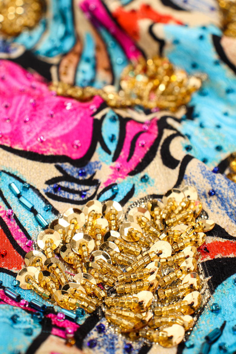 Vintage Diane Freis Tropical Beaded Silk Duster sequin detail at Recess Los Angeles